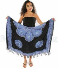 Merkloos / Sans marque Sarong | 100 x 170cm | Pareo | Saunadoek | Wikkeldoek | Sjaal | Omslagdoek | Bali | Zwart | Blauw