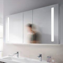 Zilveren Villeroy & Boch Villeroy en Boch My View 14+ spiegelkast met 3 deuren met LED verlichting verticaal 130x75x17.3cm incl. afsluitbare medicijnbox a4331300
