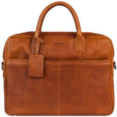 "Burkely Leren laptop werktas ANTIQUE AVERY | LAPTOPBAG 15"" Cognac"