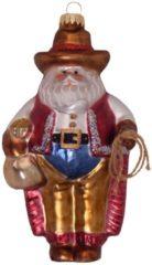Cowboy Weihnachtsmann Krebs Glas Lauscha Mehrfarbig