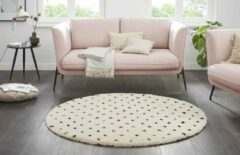 Creme witte Tapeso Rond hoogpolig vloerkleed stippen Moss - crème 160 cm rond