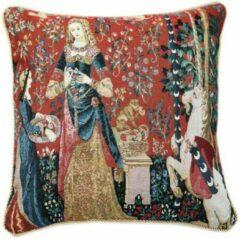 Rode Signare Kunst kussenhoes - Lady en Unicorn - Dame en de Eenhoorn - Sense of Smell