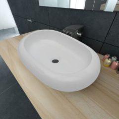 Witte VidaXL Luxe keramische wasbak ovaal 63 x 42 cm (wit)
