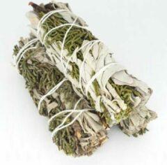 FineGoods Witte Salie en Juniper - white sage and juniper - smudge stick - 1 stuk - 10cm - 32 gram - meditatie - yoga - huis reiniging - zuivering