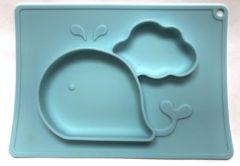 Eetbakje voor kinderen Silicone placemat Walvis Baby Groen/zeeblauw | Kinderplacemat | Vaatwasser bestendig | Anti Slip | Super leuk | By TOOBS