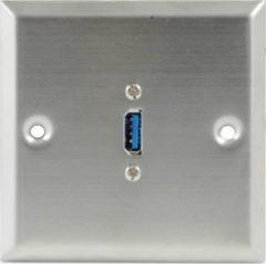 Lyndahl LK2038 Edelstahlblende USB 3.0 mit montierter Kabelpeitsche, 10cm