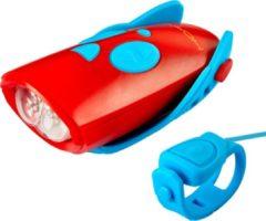 Mini Hornit - Fietsbel - fietslicht met Geluidseffecten – Blauw/Rood