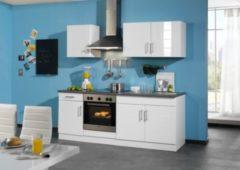 HELD Möbel Küchenzeile Nevada 210 cm Hochglanz weiß - ohne E-Geräte