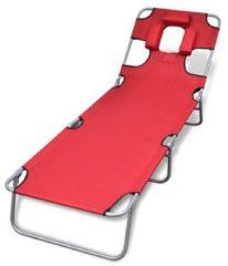 Rode VidaXL ligstoel met hoofdkussen en verstelbare rugleuning inklapbaar rood
