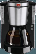 Zwarte Melitta filterkoffieapparaat Melitta look DeLuxe 1011-06, filterkoffieapparaat met glazen kan