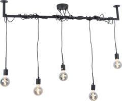 Urban Interiors Bar Hanglamp Zwart – Stang met 5 losse snoeren – 150x120