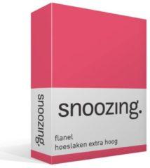 Snoozing Flanel Hoeslaken Extra Hoog - 100% Geruwde Flanel-katoen - Lits-jumeaux (180x210/220 Cm) - Fuchsia