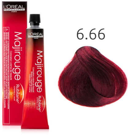 Afbeelding van Rode L'Oreal Professionnel L'Oréal - Majirouge - 6.66 Diep Donker Roodblond - 50 ml