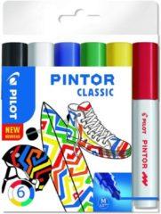 Rode Pilot Pintor 6 Kleuren Verfstiften Set - Classic Set - Medium marker met 4,5mm punt - Inkt op waterbasis - Dekt op elk oppervlak, zelfs de donkerste - Teken, kleur, versier, markeer, schrijf, kalligrafeer…