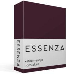 Bordeauxrode Essenza - Katoen-satijn Hoeslaken - Eenpersoons - 90x210 cm - Burgundy