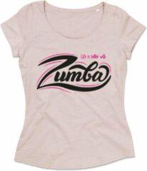Roze ByKemme Zumba T-shirt - Workout T-shirt - Dance T-shirt, dans t-shirt, sport t-shirt, Gym T-shirt, Lifestyle T-shirt - Life Is Better With Zumba - Powder Pink – XL