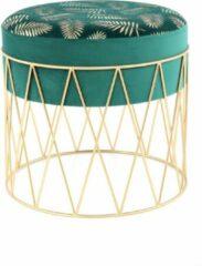 Design Fluweel Hocker Cleopatra Groen / Goud - 40x40x37CM