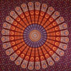 "Bordeauxrode Sankalpa® groot wandkleed - Mandala kleed ""Passion"" – -biologisch katoen - Bedsprei – Strandlaken - Picknickkleed - Wanddecoratie – Mandala doek 225x200cm Bordeaux Rood"