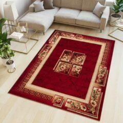 Tapiso Atlas PP Vloerkleed Woonkamer Slaapkamer Rood Mozaiek Modern Interieur Woonsfeer Duurzaam Hoogwaardig Tapijt Maat - 130 x 190 cm