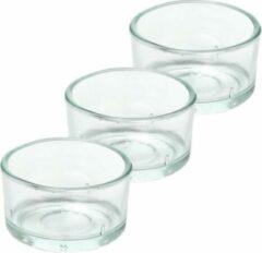 Transparante Trend Candles 3x Theelichthouders/waxinelichthouders van glas 4,2 x 3 cm - Glazen kaarsenhouders - Woondecoraties