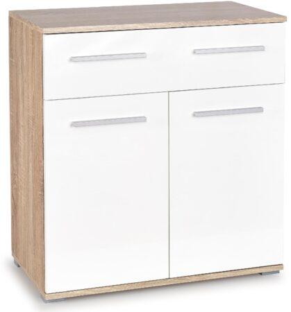 Afbeelding van FD Furniture Opbergkast Lima 82 cm hoog in sonoma eiken met hoogglans wit