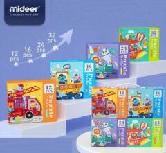 Vikids MiDeer - 4-in-1 puzzels in mooie geschenkdoos - 12 + 16 + 24 + 35 extra grote puzzelstukjes - Vervoer & Dier: Brandweerwagen + Boot + Vliegtuig + Raket - Kinderpuzzel - Educatief speelgoed voor kinderen