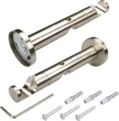 Liedeco Komib-Träger für Gardinenstangen, Stilgarnituren offen 14 cm zweiläufig, Celtic 25 mm Ø, edelstahl-optik, 1 Stück