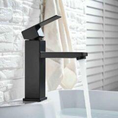 Blackline TS Premium zwarte vierkante wastafelkraan-Toiletkraan- Opbouw -18CM-Mat zwart-Mengkraan- Complete set