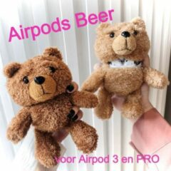 Allernieuwste Airpods Case voor 3 en PRO BEERTJE Donkerbruin - Beschermhoes Air Pods -Draadloze Airpods Oordopjes Hoesje - Earphone Accessoire Bear - Mode Fashion Pluche Bo deBEER d.bruin case