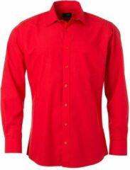 James & Nicholson James and Nicholson Heren Longsleeve Poplin Shirt (Tomatenrood)