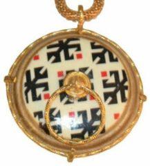 Gouden Biggdesign vloerkleed met knop hanger | Ketting voor vrouwen | Authentieke sieraden | Keramische stenen hanger | 37 cm lange ketting ketting | Authentiek cadeau