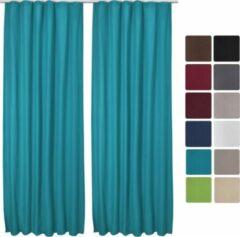"""Beautissu isolerend Gordijn met plooiband verduisterend 2-Set """"Amelie Luna"""" 245x140cm turquoise"""