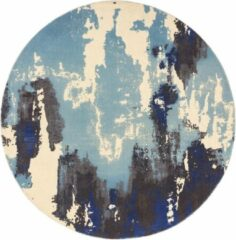 Eazy Living Easy Living - saturn-rug-blue-circle Vloerkleed - 200 cm rond - Rond - Laagpolig, Rond Tapijt - Modern - Meerkleurig