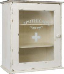 Clayre & Eef Medicijn Kastje 47*27*55 Cm Wit Hout/ Glas Rechthoekig Apothicaire 4h0345gr