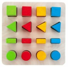 Rode Engelhart Educatief Geometric sorter 21 x 21 cm color//size 4x4 rubber wood plate