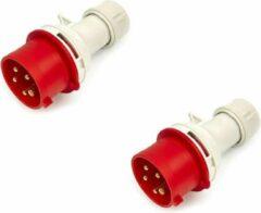 Rode Lemato 2 Stuks Cee Form Stekker 400 Volt 16A, 5 Polig, 6h, IP44