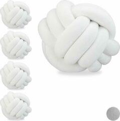 Relaxdays 5 x knot kussen wit - sierkussen knopen - knoopkussen - Scandinavisch - 25 cm
