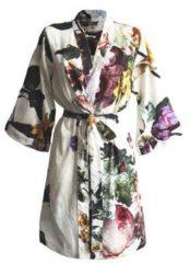 Zandkleurige Essenza Fleur kimono met bloemendessin