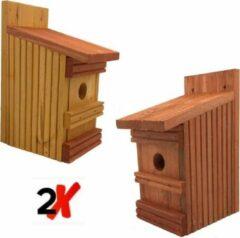Rode Garden Spirit - 2x Vogelhuisje voor Mezen en kleine vogels - Nestkast met 7-delig Vogelvoer - 11 x 13 x 25 cm