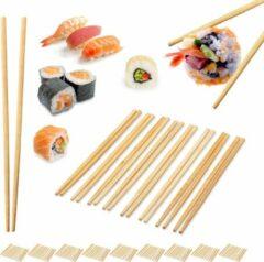 Naturelkleurige Relaxdays 100 paar bamboe eetstokjes - chopsticks - 24 cm lang - eet stokjes – bruin