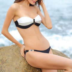 Gouden Basis collectie Bandeau Bikini Cannes Zwart