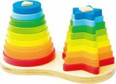Playwood / Roel Stapeltoren speelgoed hout 2x met stapelringen rond en ster vorm