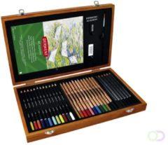 Derwent Academy Geschenkverpakking Hout - 30 Potloden - Schetspotloden - Kleurpotloden - Aquarel potloden - Assorti
