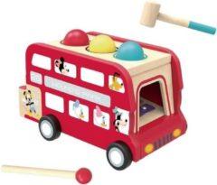 Disney Trekfiguur En Xylofoon Dubbeldekkerbus 30 Cm Hout Rood