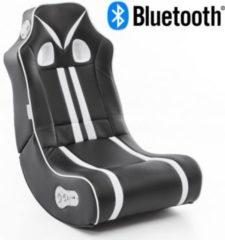 Wohnling ® Soundchair NINJA in Schwarz Weiß mit Bluetooth Musiksessel mit eingebauten Lautsprechern Multimediasessel für Gamer 2.1 Soundsystem - Su