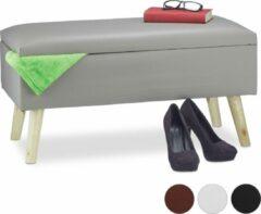 Relaxdays bankje met opslagruimte - kunstleer - gepolsterd - opbergbank 40 liter - zitbank grijs
