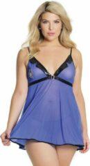 Blauwe Croquette Babydoll & G-String - Blue/Black - QS