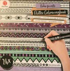 Witte Craft Kleurboek glitter - 24 vellen 21 cm lang - 21 cm hoog / indiaan - inclusief een flamingo sleutelhanger