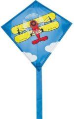 Invento eenlijnskindervlieger Mini Eddy Biplane 30 cm blauw