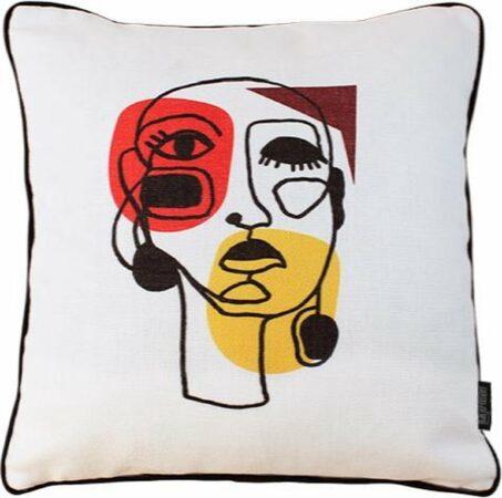 Afbeelding van Creme witte Gek op Kussens! Jacquard Face Abstract Kussenhoes | Polyester - Jacquard Stof | 45 x 45 cm